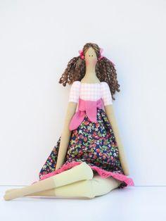 Fabric doll lovely rag doll brown hair cloth by HappyDollsByLesya