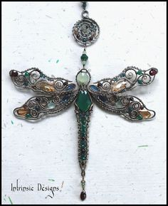 Dragonfly Suncatcher ... with Loads of Gorgeous Gemstones and Pure Bronze, Copper and Stainless Steel