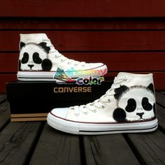 Custom Converse All Star Hand Painted Panda High Top Canvas Sneakers Hand-panting shoes are special because its uniqueness. They are not only a pair of [. Cheap Converse Shoes, Mode Converse, Custom Converse, Outfits With Converse, Converse Sneakers, Converse All Star, Custom Shoes, Nike Shoes, Canvas Sneakers