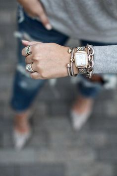 Women's Accessories - The perfect David Yurman bracelet stack via For All Things Lovely - Women's Accessories Jewelry Accessories, Fashion Accessories, Fashion Jewelry, Women Jewelry, Jewelry Sets, Bijou Van Cleef, Sterling Silver Bracelets, Silver Jewelry, Silver Earrings