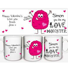 Personalised Love Monster Mug Personalise this Love Monster Mug with a name on the front up to 12 characters and then any message on the reverse over 4 lines, 20 characters on each line You are my Love Monster and Give me cuddles  http://www.MightGet.com/january-2017-13/personalised-love-monster-mug.asp
