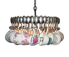 Antique Spoon Chandelier With Tea Cups  too many  cups and spoons but still a cute idea