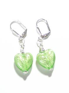 Murano Glass Light Green Heart Silver Earrings, Venetian Jewelry, Leverback Earrings