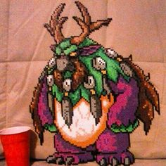 Handmade World of Warcraft Large Moonkin Perler Bead Piece