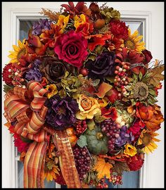 Fall Wreath, Harvest Wreath, Autumn Door Wreath, Luxury Fall Wreath, On SALE Today!, Petal Pushers Wreaths, Free USA Shipping! by petalpusherswreaths on Etsy https://www.etsy.com/listing/158244874/fall-wreath-harvest-wreath-autumn-door