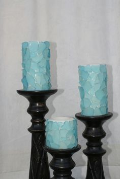"Sea Glass Candles....could be easily done with dollar store ""sea glass"""