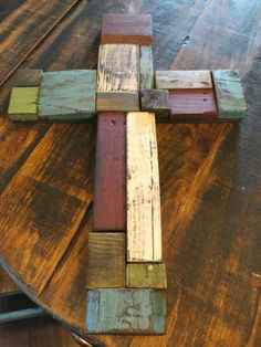 This is a one of a kind large reclaimed wood cross. Size 13 x . A perfect gift for someone that loves unique crosses. White distressed wood is the background to a second natural reclaimed wood cross. Mounted to the top is a small white rustic cross. Wooden Crosses, Crosses Decor, Wall Crosses, Pallet Crafts, Pallet Art, Wooden Crafts, Scrap Wood Projects, Pallet Projects, Woodworking Projects