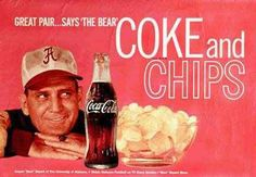 """""""Great pair says the Bear"""".  Coke and Golden Flake Potato Chips  (Great commericals from the 60's and 70's)"""