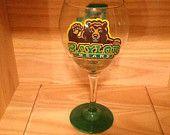 Hand Painted Baylor Bears Wine Glass