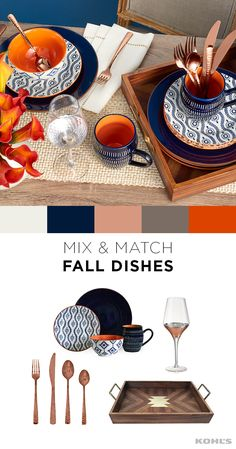 Fall is all about rich, bold colors and this swoon-worthy table setting is mixin. Fall Home Decor, Autumn Home, Holiday Decor, Fall Dishes, Decoration Inspiration, Dinnerware Sets, Humble Abode, Kitchen Dining, Kitchen Decor