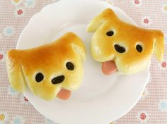 Dog Bread Tongue out puppy by [Cookpad] Easy and delicious recipes for everyone million Dog Bread, Bread Mold, Bread Art, Cute Snacks, Cute Food, Japanese Hamburger, Baby Food Recipes, Cooking Recipes, Bread Shaping