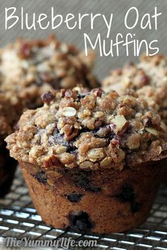 Blueberry Oat Streusel-Topped Muffins. Gluten-free option. TheYummyLife.com