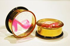 Barbie earring plugs for stretched ears (gold and pink shoes)
