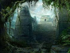 Temple of the Ancients Background Drawing, Architecture Old, Angkor Wat, Original Wallpaper, Fantasy Landscape, Bulletin Board, Concept Art, Waterfall, Scenery