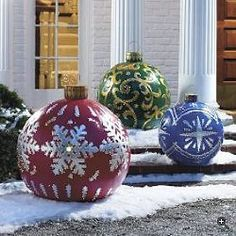 "To hang in a large event space for a holiday festival. What you'll find there are big balls. Big white styrofoam balls up to 30"" in diameter (. Spray paint them in different colors (put a coat of something on underneath or a lot of the paint will be absorbed by the foam) and then use stencils (ie snowflakes) or a loose measuring tape (for stripes) to sketch your pattern. Then spray within the desired design with a strong 3M-like spray epoxy and sprinkle glitter"