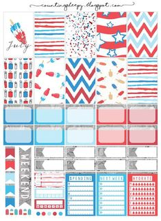 Free Printable 4th of July Planner Stickers from Counting Sheepy #scrapbookprintables