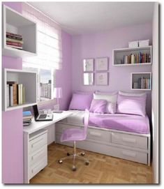 Between the bed, the desk, and all of the rectangular shelves, this bedroom is a great example of the use of horizontal lines.