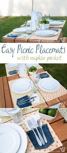 I love this idea! Easy DIY picnic placemats with a napkin pockets make eating outside a breeze! Tutorial and pattern on HousefulofHandmade.com