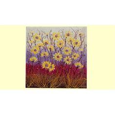 Dipinti Floreali Moderno Margherite gialle Astratte Moderne- Materico acrilico su tela - Dim. 60x60