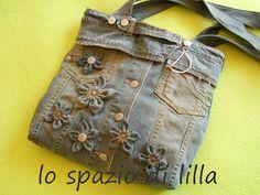 Denim Jacket into handbag with fabric flowers