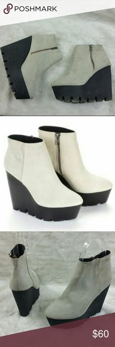 cheap monday monolit suede booties 41 11 cheap monday monolit suede booties  Size 41 euro us 11  Flaws on the suede  please see pictures for details   Measurements   Heel height 5.5in highest  Widest 3in Toe to heel 8in Cheap Monday Shoes Ankle Boots & Booties