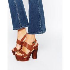 Miss KG Gogo Tan Wooden Platform Sandals (€105) ❤ liked on Polyvore