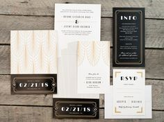 Glamorous Gatsby Pocket Wedding Invitation Suite or by PaperSnaps