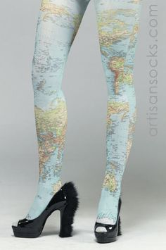 Map of the World Tights
