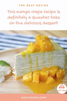 This mango crepe recipe is definitely a sweeter take on the delicious dessert  This article will guide you on how to make mango crepes. These sweet crepes are ideal for a dessert treat for your loved ones and friends. It only requires some practice with swirling the pan while you are cooking crepes. That's it. So let's start to make some sweet and tasty mango crepes.  #howtomakeMangoCrepes #mangocrepesrecipes #havycakes #howtomakecrepes Crepe Delicious, Delicious Cake Recipes, Yummy Cakes, Dessert Recipes, Mango Crepes Recipe, Crepe Maker, How To Make Crepe, Mango Cake, Healthy Food