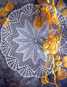 tejidos artesanales en crochet: carpeta hojas de palmera