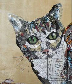 Donovan and Friend, a torn paper collage by Susan Schenk. $225.00, via Etsy.