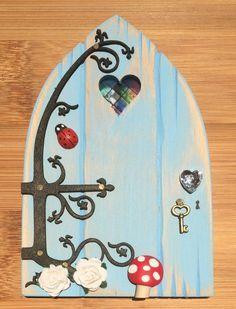 Oaktree Fairies - The Welsh Fairy Door Company. Sky Blue Fairy Door with new Fairytale hinge! Blue Fairy, Fairy Land, Fairy Tales, Diy Fairy Door, Fairy Doors, Fairy Garden Houses, Fairy Gardens, Fairy Furniture, Rock Crafts