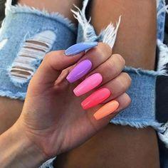 Bright Summer Acrylic Nails, Purple Acrylic Nails, Acrylic Nails Coffin Short, Square Acrylic Nails, Coffin Nails, Acrylic Nails Pastel, Multicolored Nails, Pink Coffin, Colorful Nail