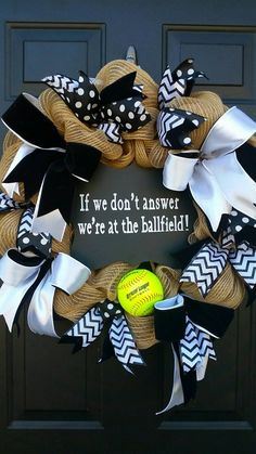 Check out this item in my Etsy shop https://www.etsy.com/listing/271533222/softball-wreath