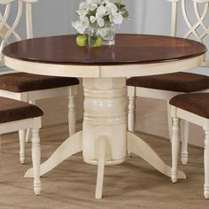 Best Round Dining Table Images On Pinterest Round Dining - White pedestal table with leaf