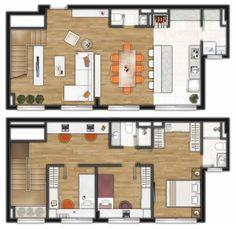 Murano Planta Duplex 3 dorms 130m2 Duplex House Plans, House Floor Plans, Plantas Duplex, Model House Plan, Small Floor Plans, Duplex Apartment, Stairs Architecture, Container House Plans, Interior Rendering