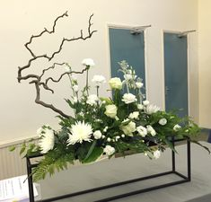 FLOWER ARRANGEMENT: Winter of '64. FLOWERS: Cineraria, Contorted Willow, Fatsia, Palm, Carnation & spray Carnation, Staccis, Hosta, Lisianthus, Ayrum, Rose (Avalanche), Chrysanthemum (Anastasia), Honeysuckle. THEME: Memories. BY: on 21/05/2015