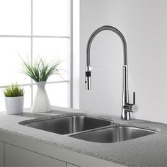 Shop for KRAUS 32 Inch Undermount 60/40 Double Bowl 16 Gauge Stainless Steel Kitchen Sink with NoiseDefend Soundproofing. Get free shipping at Overstock.com - Your Online Home Improvement Outlet Store! Get 5% in rewards with Club O!