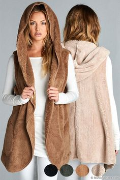 Hooded Plush Faux Fur Vest with Pockets-Mocha Brown
