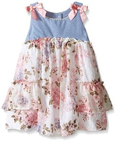639245c0ab4 Girls  Chambray To Printed Floral Clip Dot Dress. Bonnie Jean ...