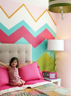Chevron wall for a kid's bedroom. For wy's new room