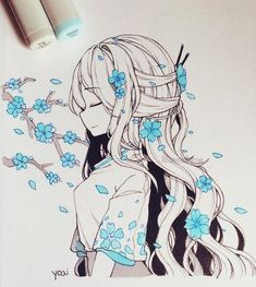 -Blue blossoms 🌸 Should I do the drawthisinyourstyle challenge? Technically pe… Blue blossoms 🌸 Should I do the drawthisinyourstyle challenge? Technically people could just draw any of my existing drawings if they want,… See it Anime Drawings Sketches, Anime Sketch, Kawaii Drawings, Manga Drawing, Manga Art, Cute Drawings, Random Drawings, Anime Drawing Styles, Beautiful Drawings