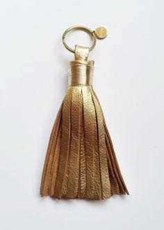 gold leather tassel keychain