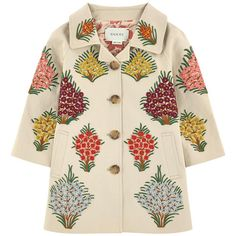 Coat with embroidered flowers Gucci 给女孩   Melijoe.com