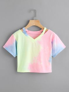 Shop Cut Out Neck Water Color Tee online. SheIn offers Cut Out Neck Water Color Tee & more to fit your fashionable needs.