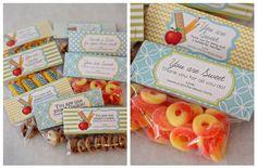 Homemade treat bags for teacher gifts!