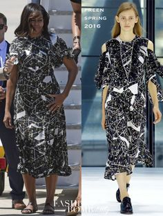 717f1c0c394d First Lady Michelle Obama wore a Preen Spring 2016 Black and White Printed  Boyer Dress while in Madrid. Fashion Bomb Daily