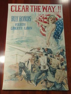 Clear The Way Buy Bonds 4th Liberty Loan World War Two Reproduction 24x36 inch