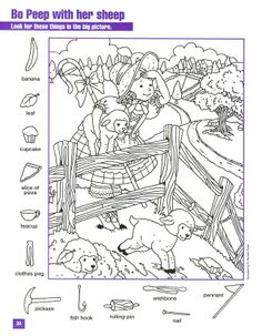 Bo Peep With Her Sheep Hidden pictures coloring page Hidden Picture Games, Hidden Picture Puzzles, Hidden Images, Hidden Pictures, Learning Tools, Kids Learning, Little Bo Peep, Hidden Objects, Clothes Pegs