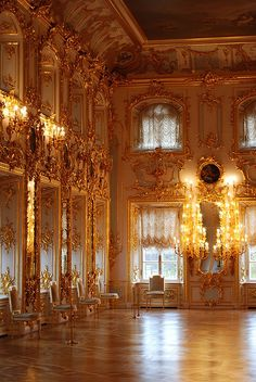 Ballroom at the Peterhof Palace, St. Petersburg- Places I have seen Baroque Architecture, Beautiful Architecture, Russian Architecture, Places To Travel, Places To Go, Voyage Europe, Princess Aesthetic, Ballrooms, Beautiful Places